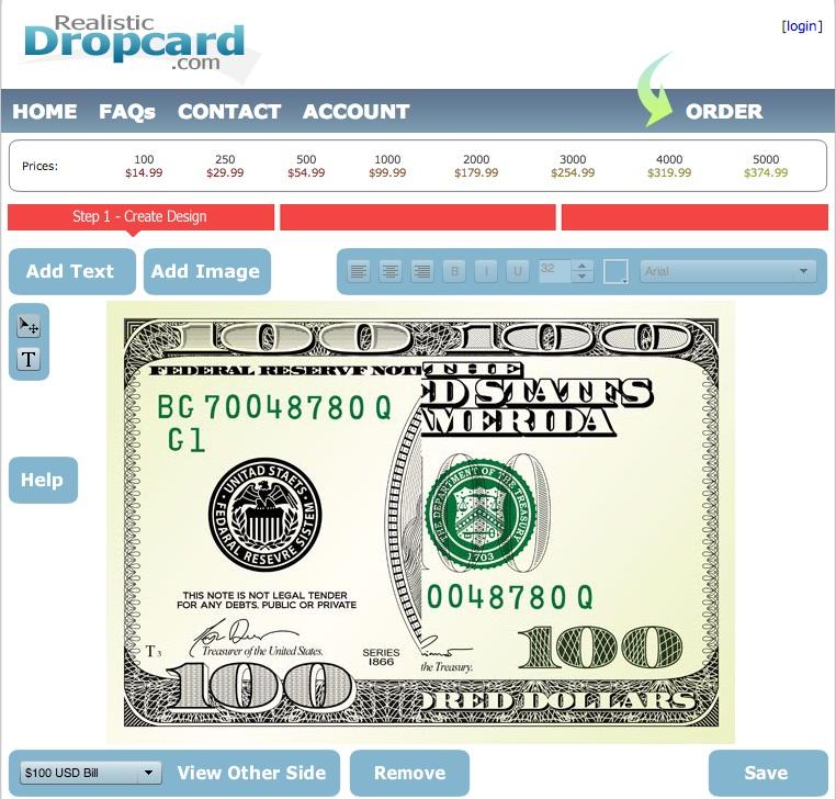 folded money card